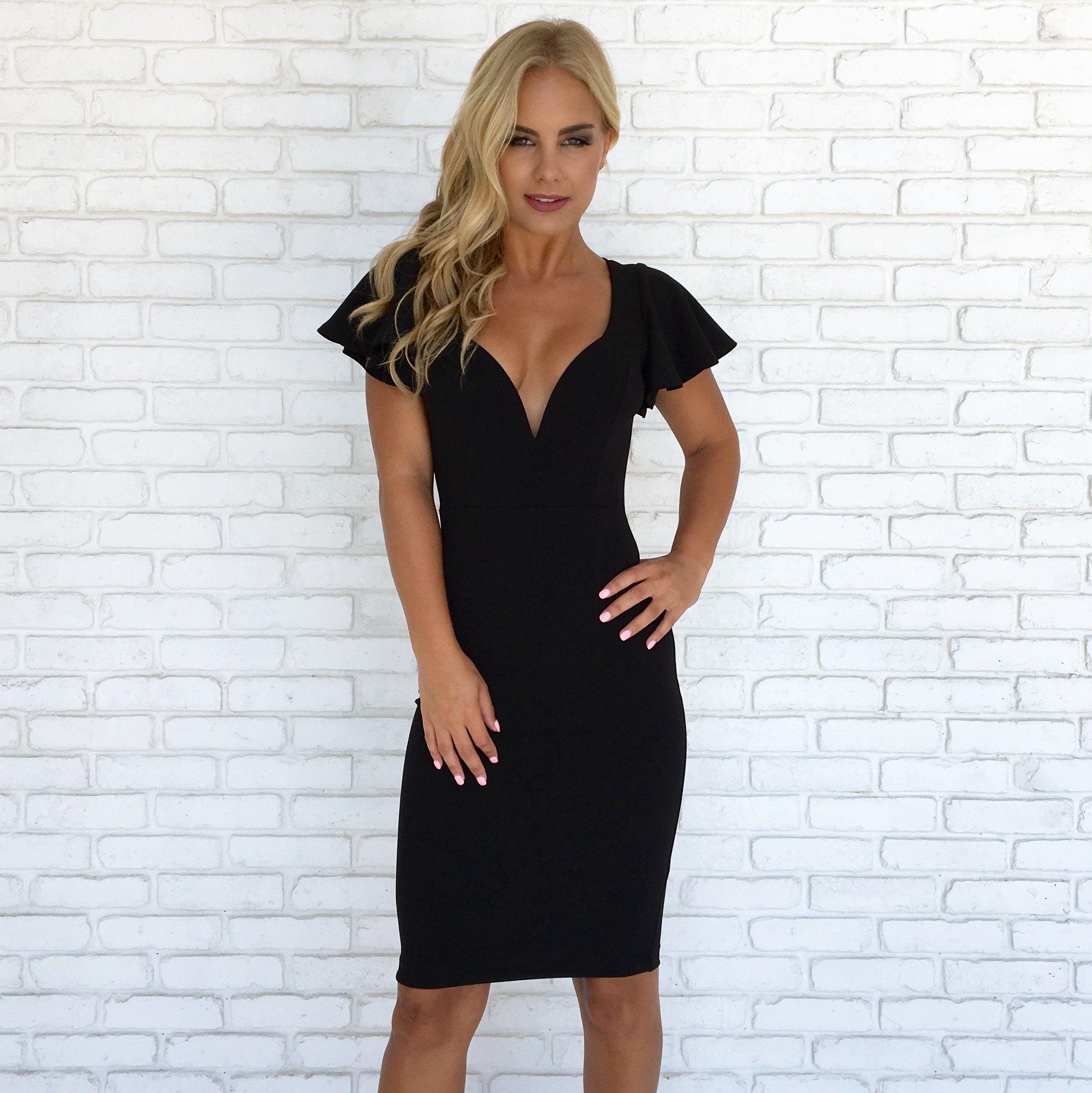 Vixen Midi Dress in Black