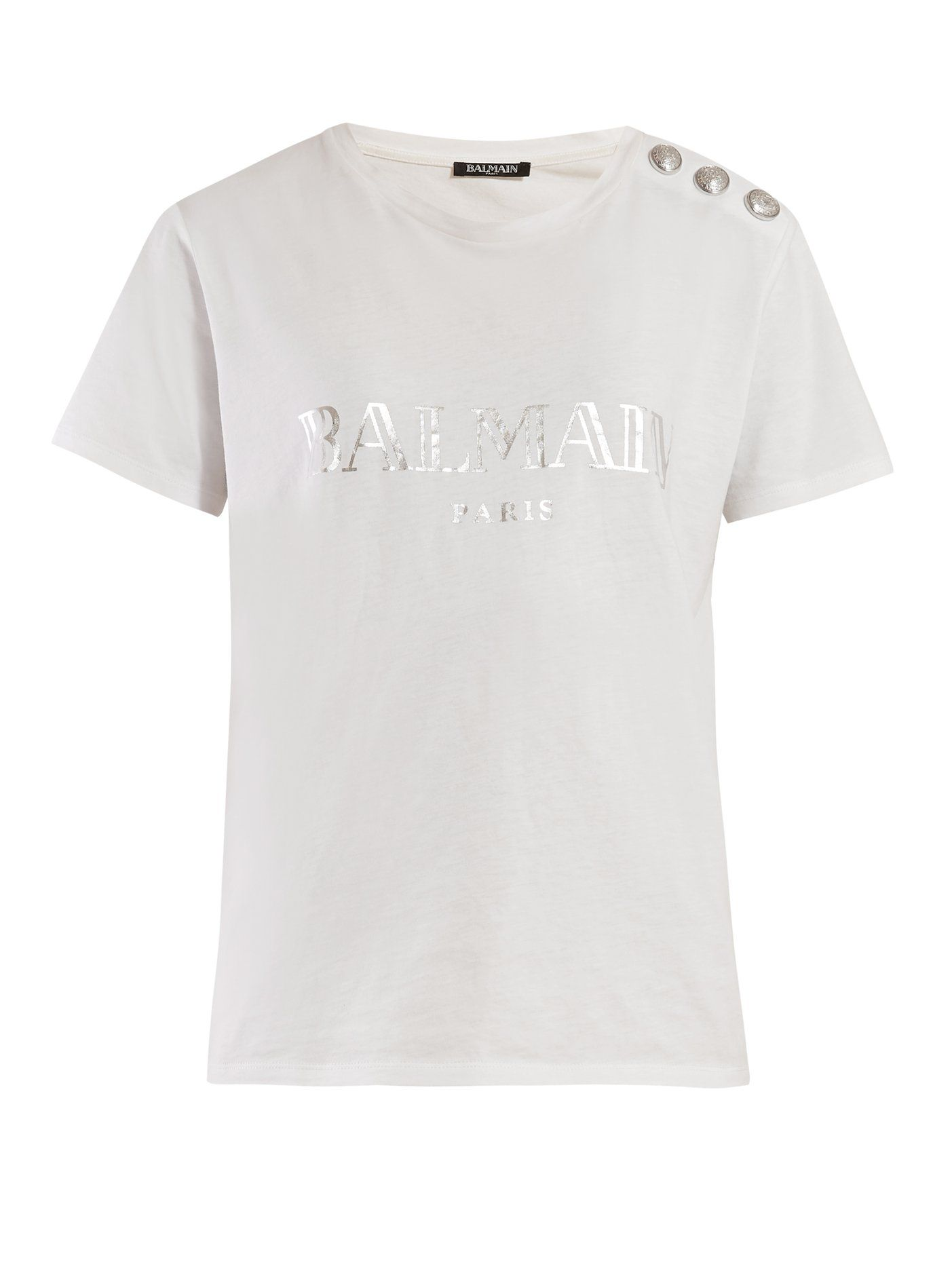 90ffac2236235f Logo-print cotton T-shirt | Balmain | MATCHESFASHION.COM US | TOPS ...