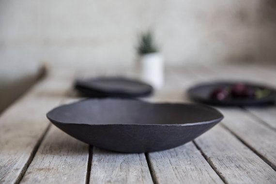Ceramic Black bowl, Decorative Bowl, Serving Bowl, Wabi ...