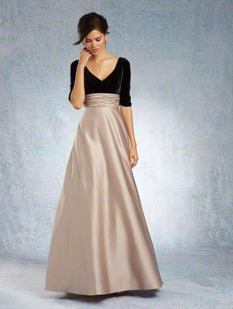 Alfred Angelo Bridesmaid Style 7345l Velvet Bodice And Satin A Line Skirt Multiple