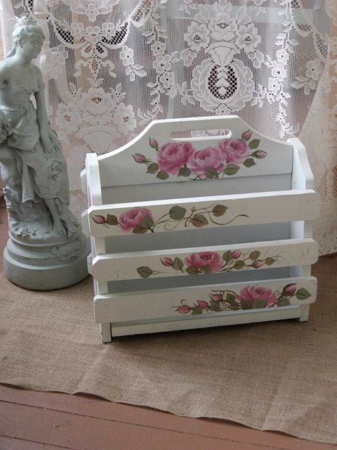 shabby chic pink magazine rack shabby chic french cottage hand painted pink roses romantic home. Black Bedroom Furniture Sets. Home Design Ideas