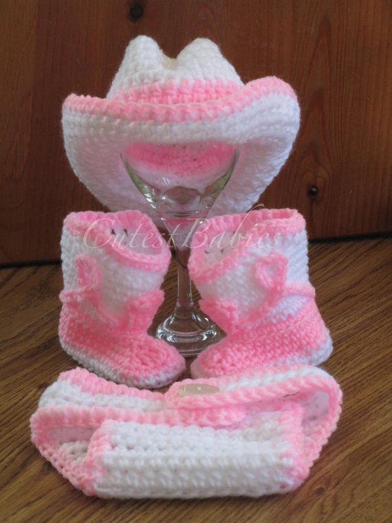 Newborn Baby Crochet Cowboy/ Cowgirl Hat Boots & by ...