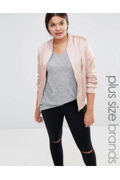 Missguided Plus Satin Bomber Jacket - Pink https://modasto.com/missguided/kadin-dis-giyim/br40763ct54