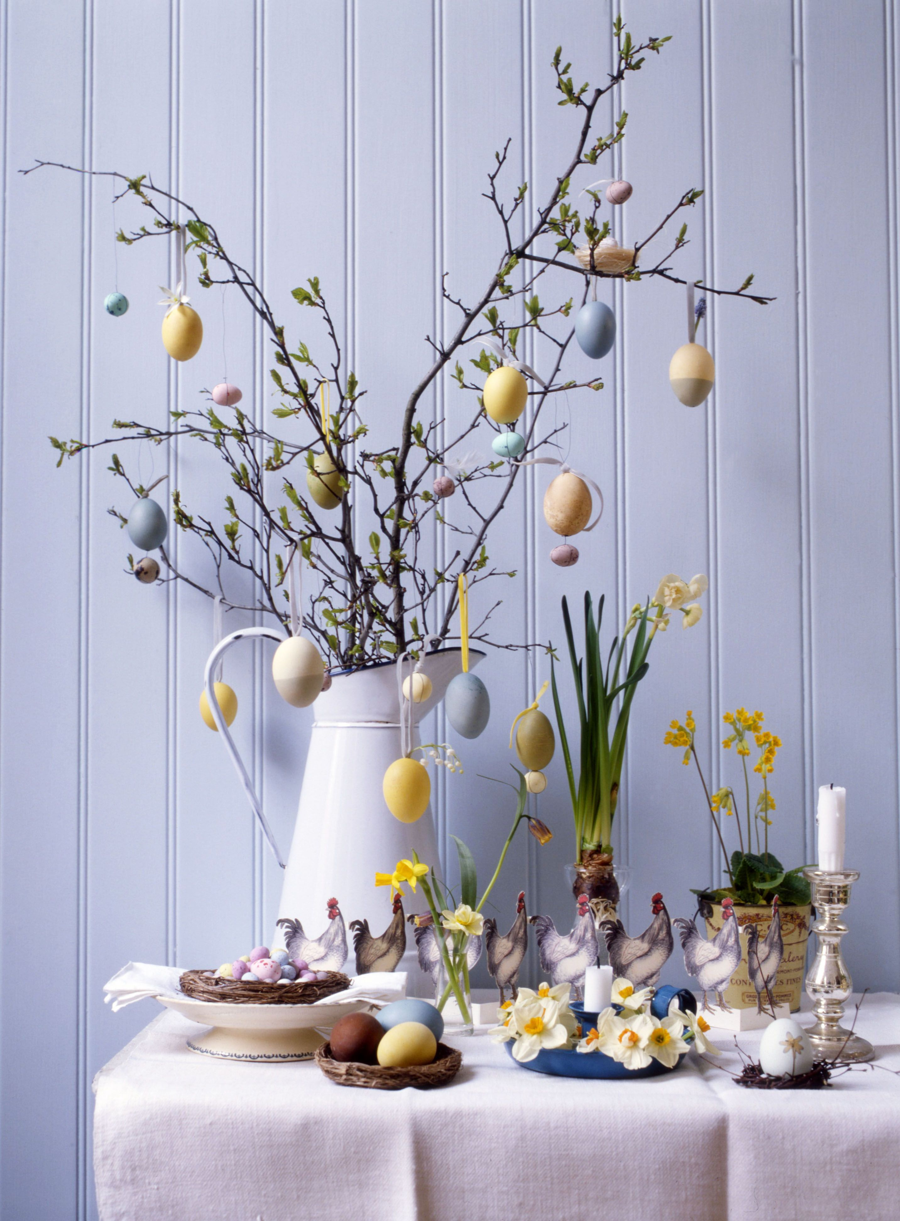 We always made an Easter tree when I was little with gorgeous patterned, miniature, chocolate eggs threaded and hung from the branches