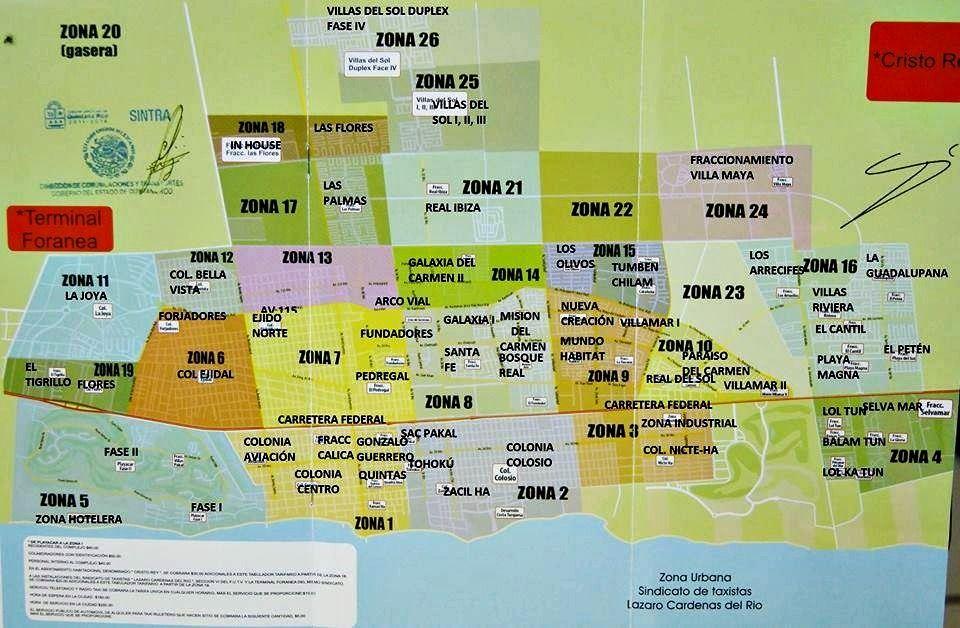 Playa del Carmen taxi rate map Playa