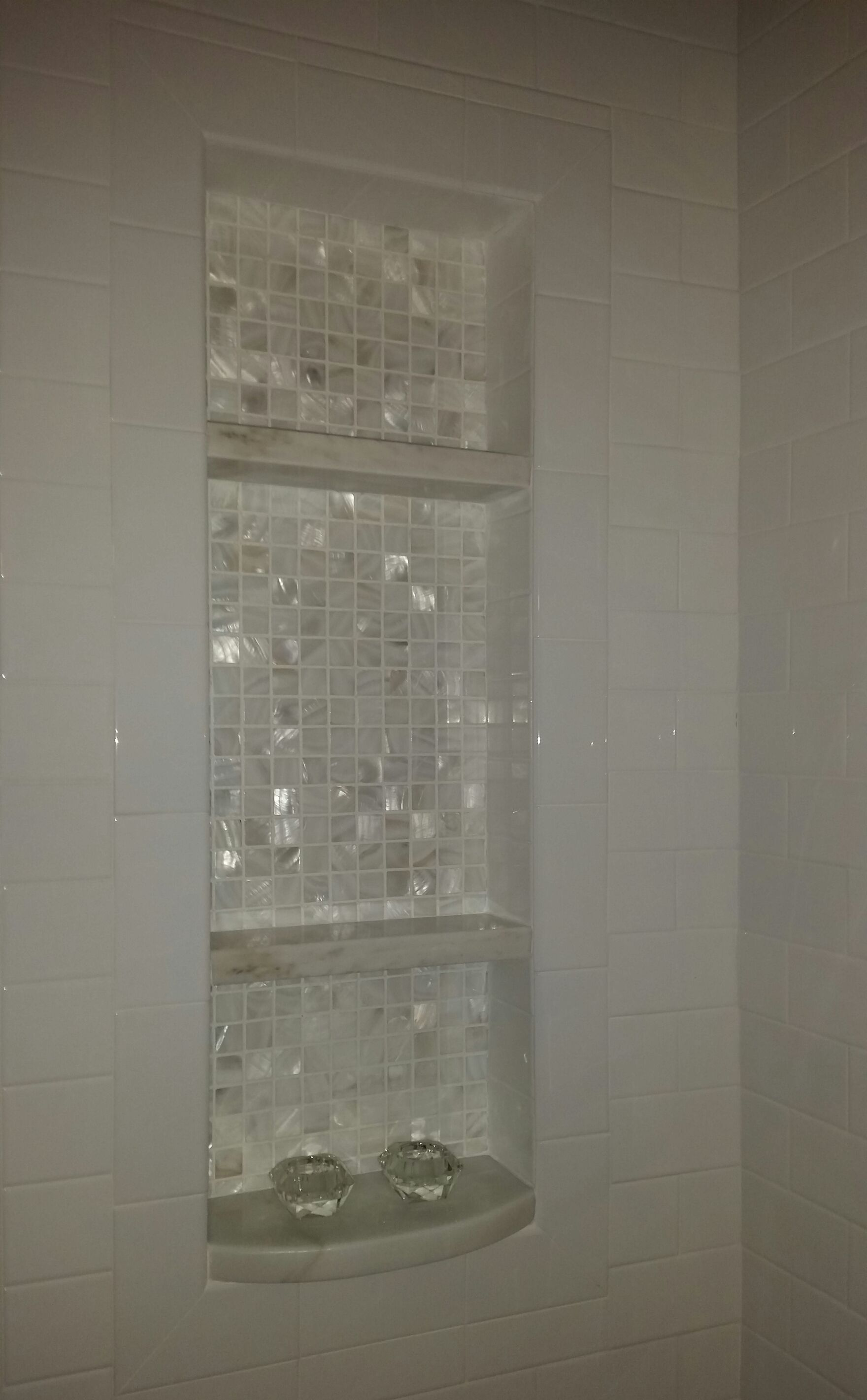 We Added This Niche To The Tub/shower Combo. The Shelves Are Calcutta Marble
