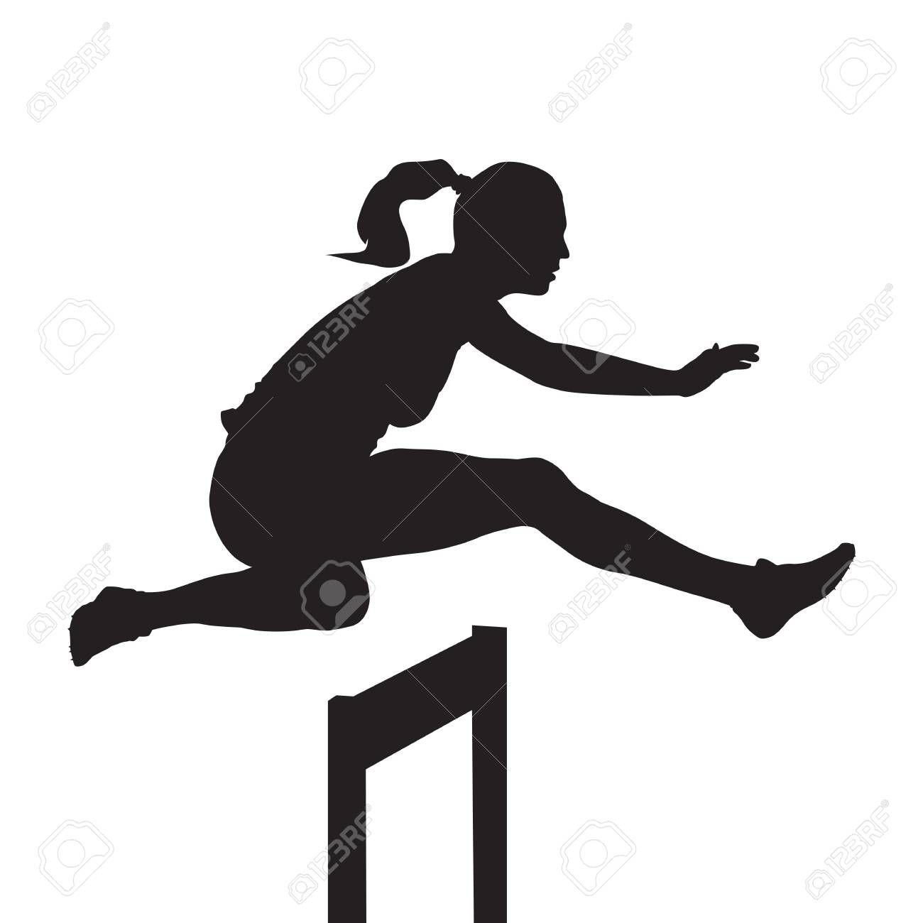 Woman Jumping And Running Over Hurdles Hurdle Race Vector Silhouette Silhouette Silhouette Vector Hurdles
