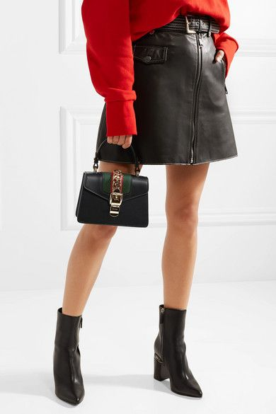 2cfb48a088c8be Gucci - Sylvie Mini Chain-trimmed Leather And Canvas Shoulder Bag - Black