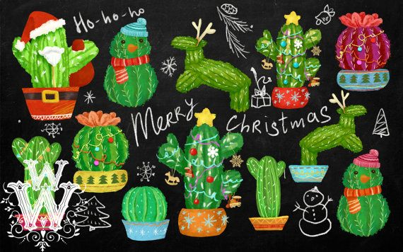 Christmas Cactus Clipart.Pin By Etsy On Products Cactus Clipart Christmas Cactus
