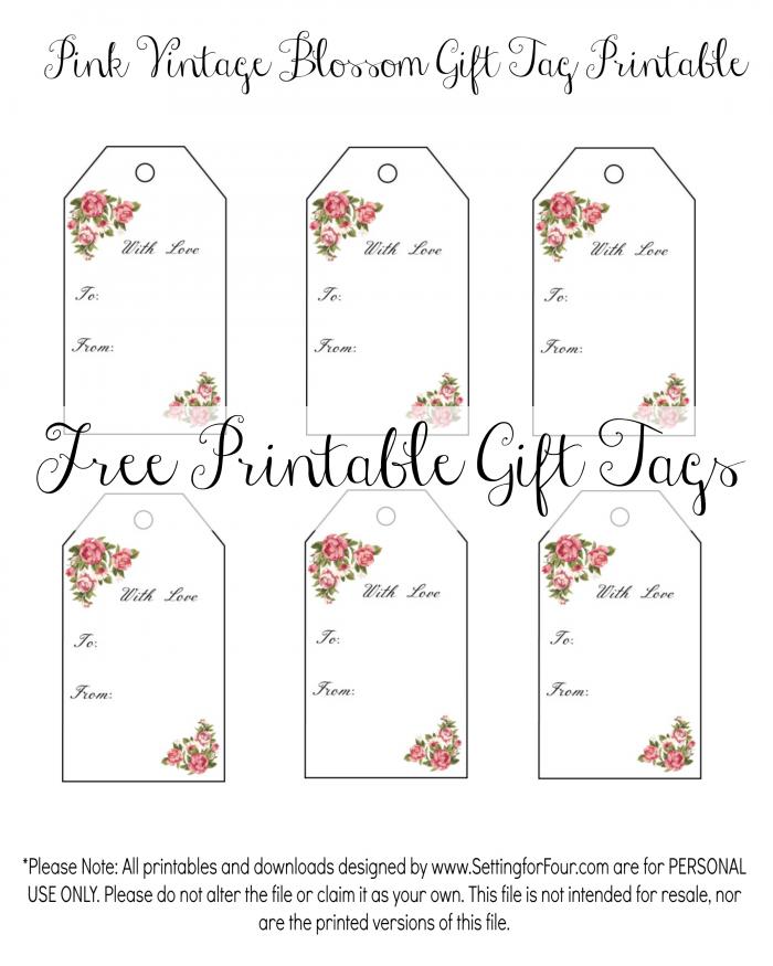 Printable Birthday Gift Tags Templates ~ Vintage blossom free printable gift tags anniversary gifts and