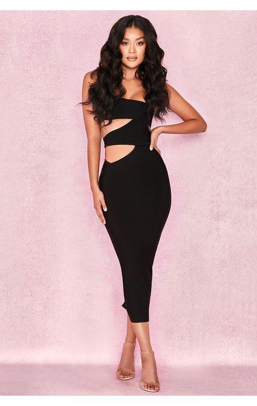 8f4d0fcadb281 Clothing : Bandage Dresses : 'Miya' Black Bandage Cut Out Dress ...