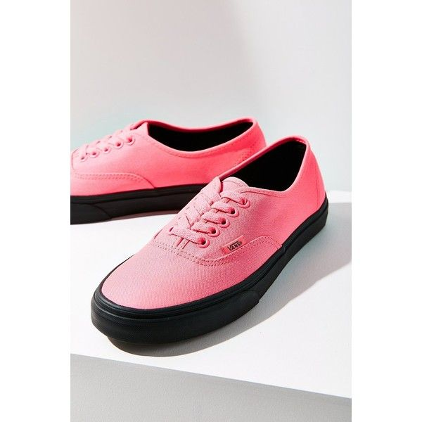 Vans Black Sole Authentic Sneaker ($30) ❤ liked on Polyvore featuring shoes, sneakers, leather lace up sneakers, black sneakers, vans trainers, black leather shoes and black trainers