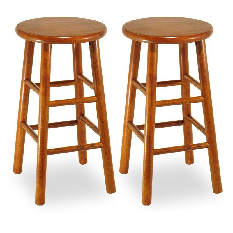 Winsome Wood 24-Inch Commander Beveled Seat Counter Stool - Set of 2 ...