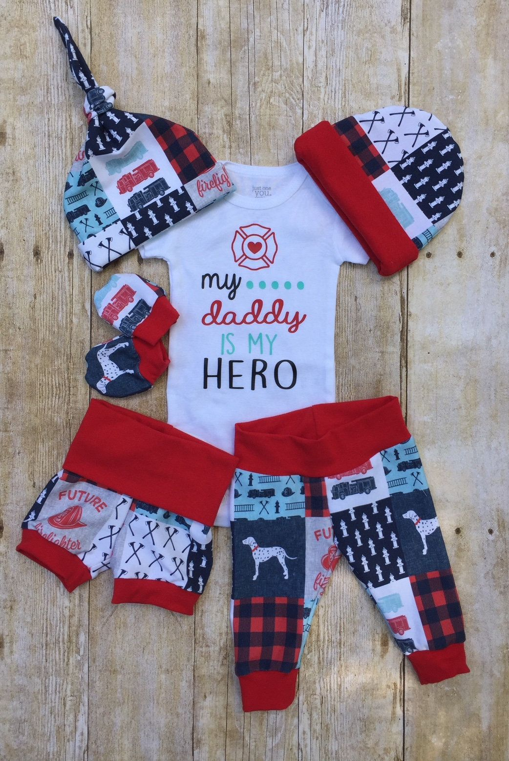 Photo of Daddy Hero Firefighter Baby Boy Coming Home Outfit, Firetruck Fireman Outfit, Take Home Newborn, Baby Boy Layette Set, Baby Shower Gift