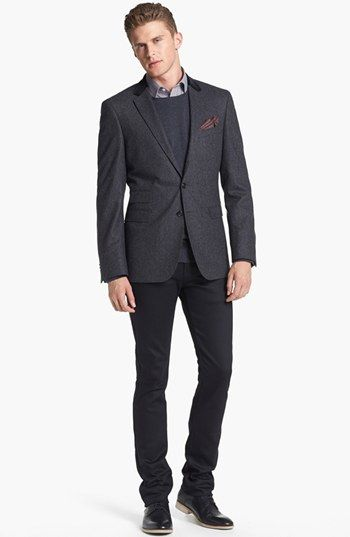 4aa5d5c87 BOSS HUGO BOSS Blazer & Naked & Famous Denim Jeans available at #Nordstrom.  A more casual look in men's sportswear is pairing a blazer or suit coat with  a ...