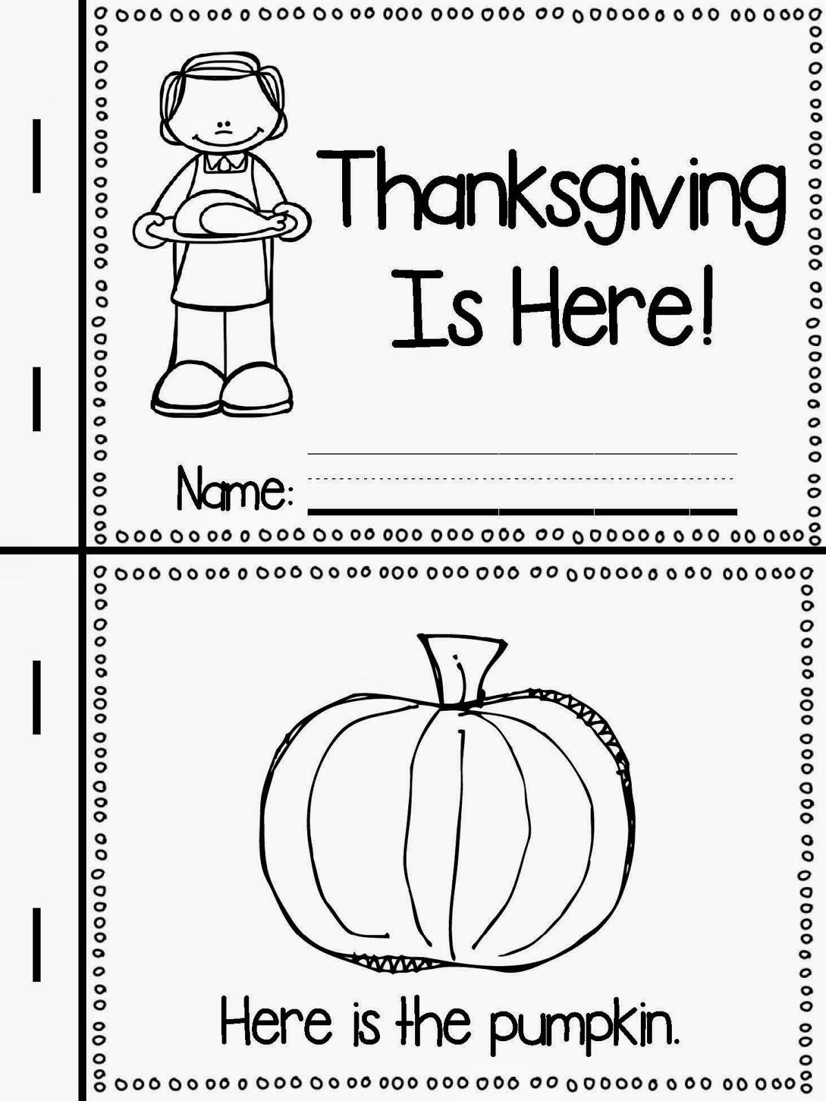 Free Emergent Reader For Thanksgiving