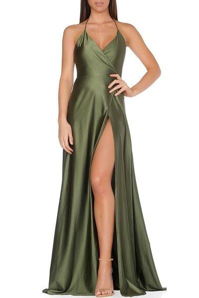 Olive Dress Evening Wear