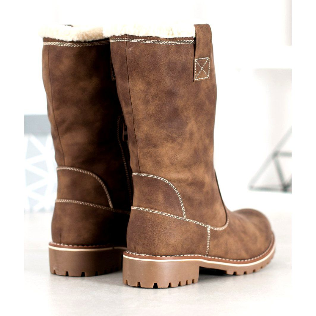Sds Cieple Kozaki Z Eko Skory Brazowe Boots Ugg Boots Shoes