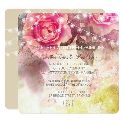 #flower - #Subtle pink roses wedding invitation set