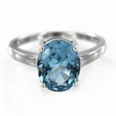 Sterling Silver Created Aquamarine Small Oval Ring