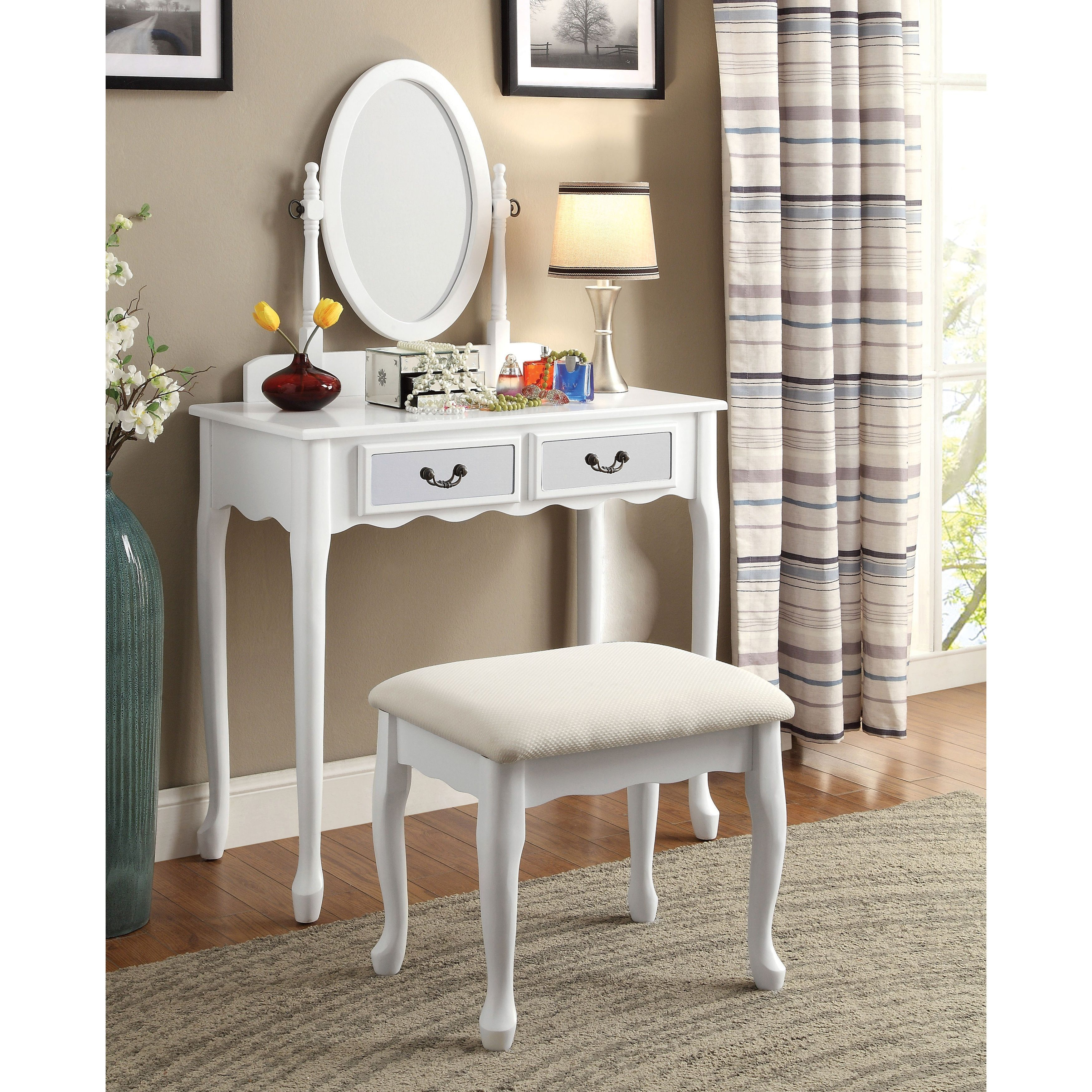 Furniture Of America Savanna 2 Piece Classic Vanity Table And Stool