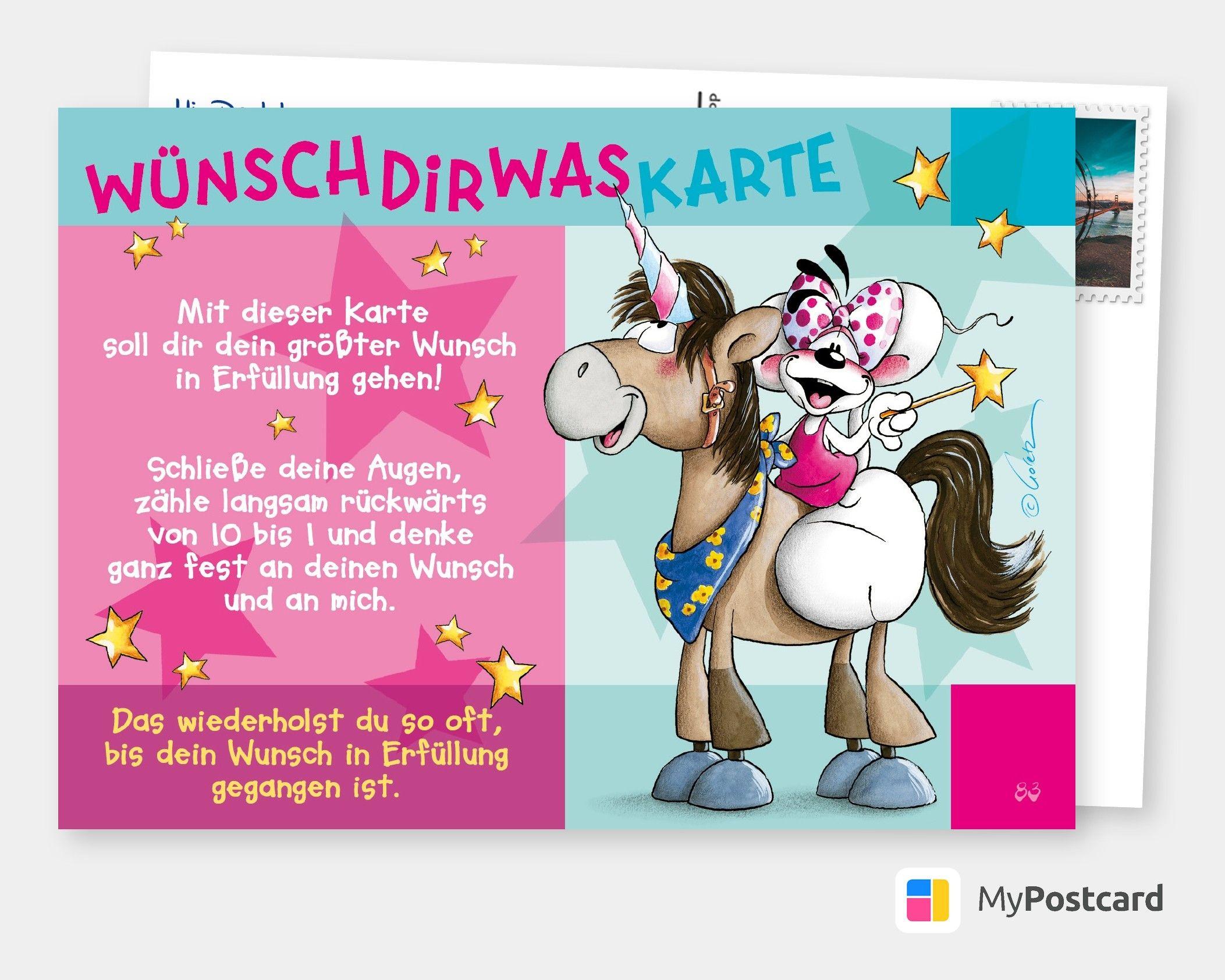 Wunschdirwas Karte Comic Cartoons Echte Postkarten