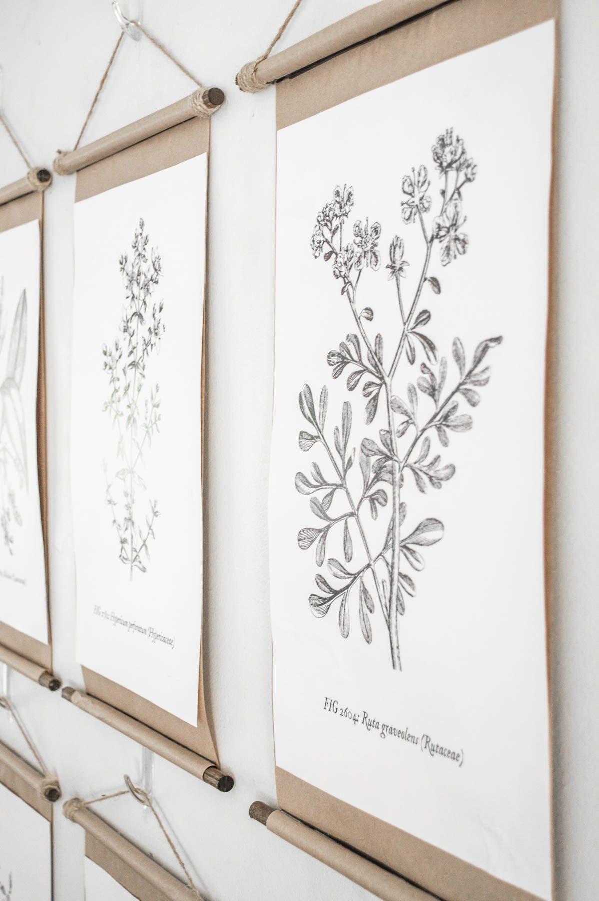 Simple DIY vintage poster scroll frames | Wall art diy ...