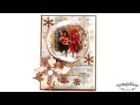 """""""Śnieżna kula"""" – kartka na Boże Narodzenie – Manufaktura Justyny – artykuły do rękodzieła i ozdoby hand made"""