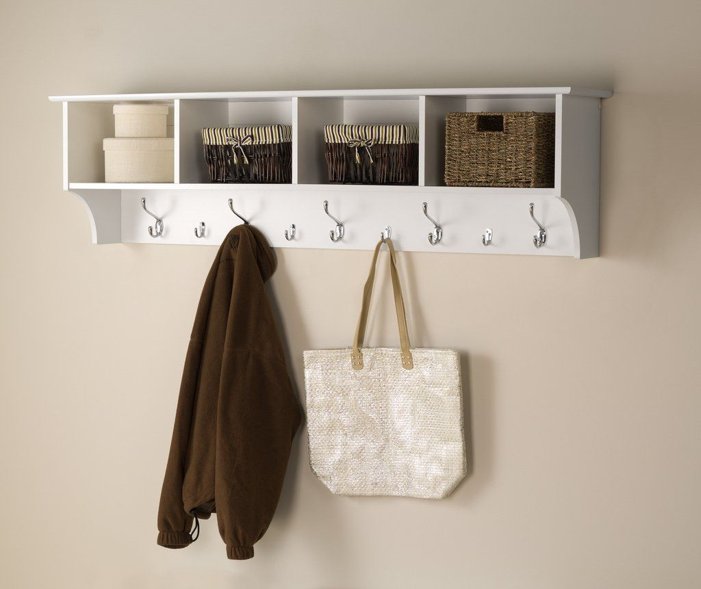 White 60inch Wide Hanging Entryway Shelf Wholesale Furniture