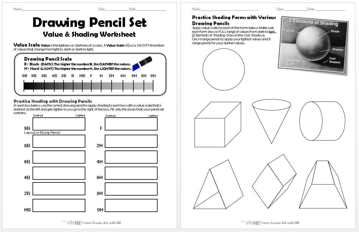 Drawing Pencil Set Value And Shading Worksheet
