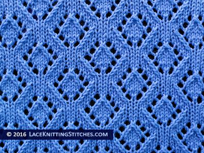 Knitting Multiple Stitches In One Stitch : Lace Knitting. #41 Eyelet Diamonds lace stitch Lace Knitting Stitches Pin...