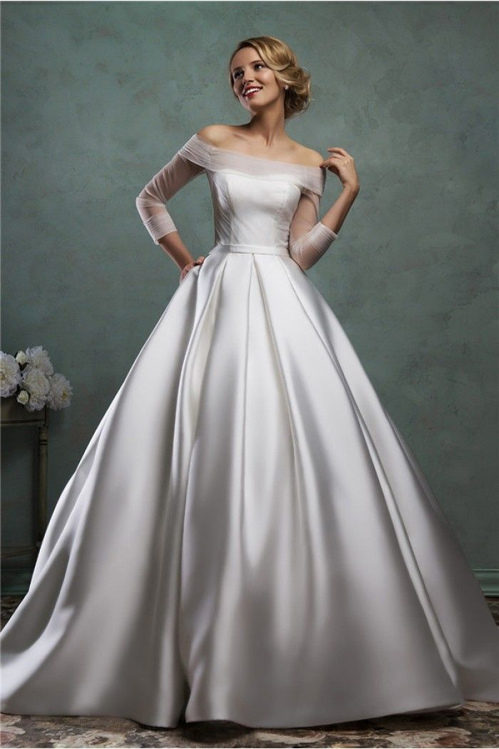 Simple Ball Gown Off The Shoulder Satin Tulle Sleeve Wedding Dress With Belt Online Wedding Dress Amelia Sposa Wedding Dress Ball Gowns Wedding