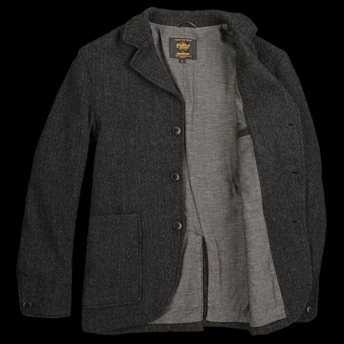 UNIONMADE - UNIONMADE Black - Golden Bear Wool Herringbone Blazer in Black