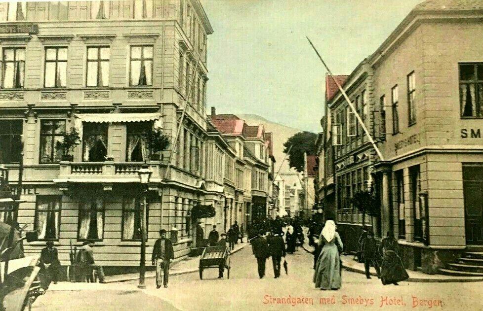 Hordaland fylke Bergen Strandgaten med Smebys Hotel Utg C. A. Erichsen brukt 1915