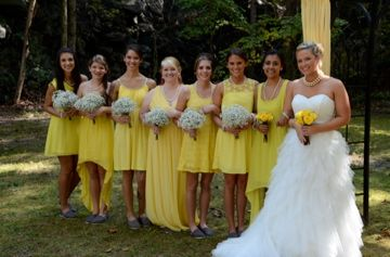 Yellow And Grey Wedding Toms Mismatch Bridesmaid Dresses Vintage Rustic Outdoor