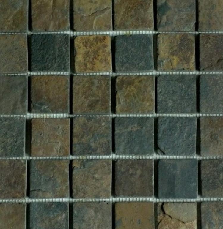 Foto: Natuursteen / Leisteen mozaiek tegels om de badkamer een ...