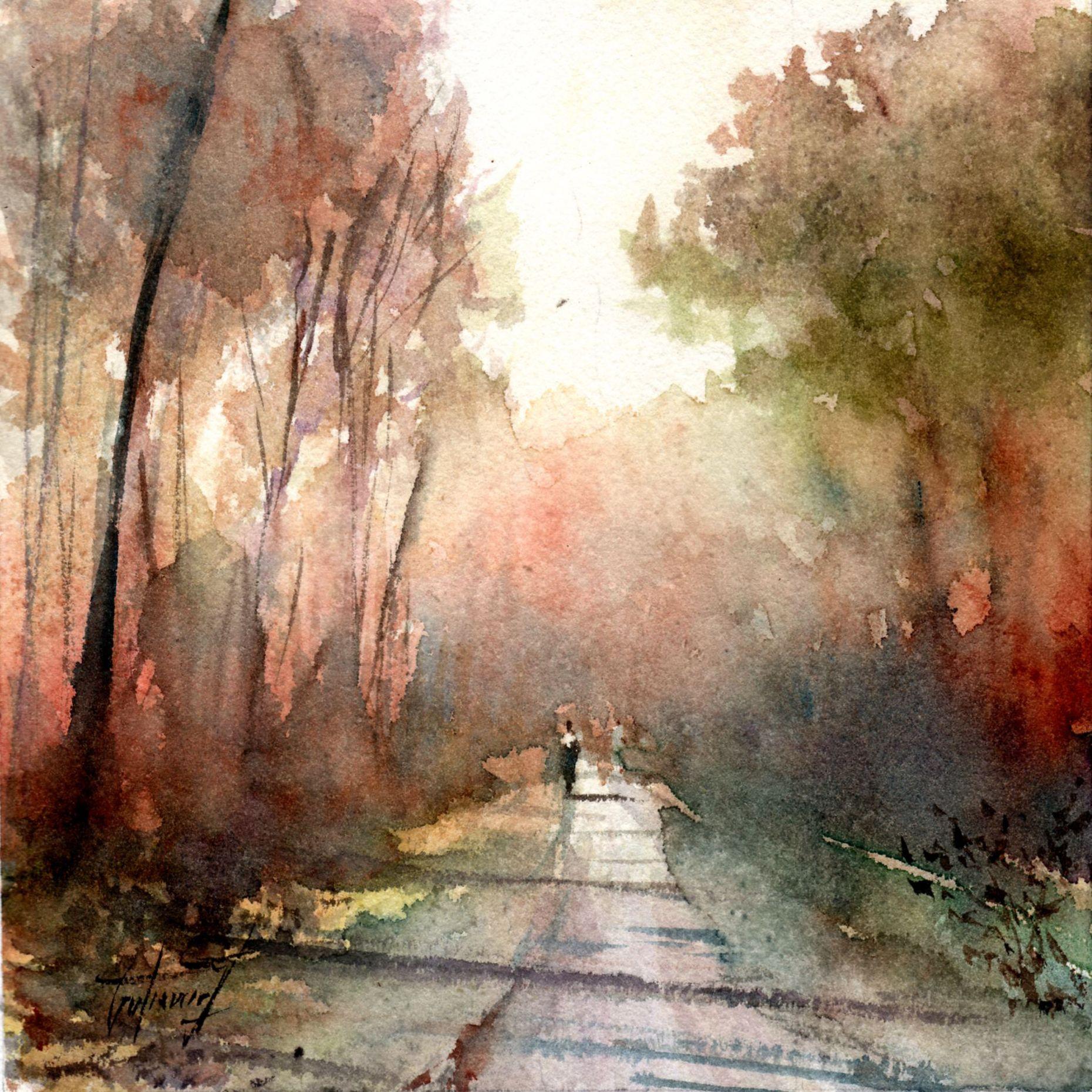 La Rencontre Par Pierre Gutierrez Watercolor Jd Peinture