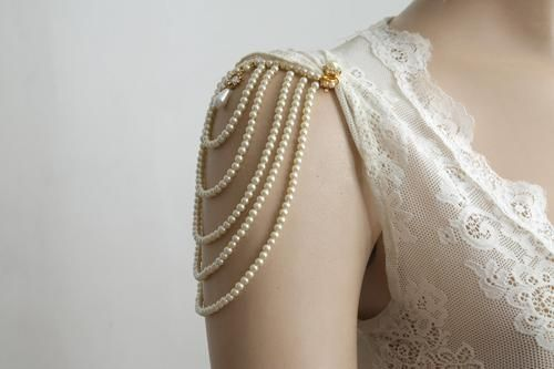 Shoulder Epaulettes Bridal Wedding Pearl Jewelry 1920s