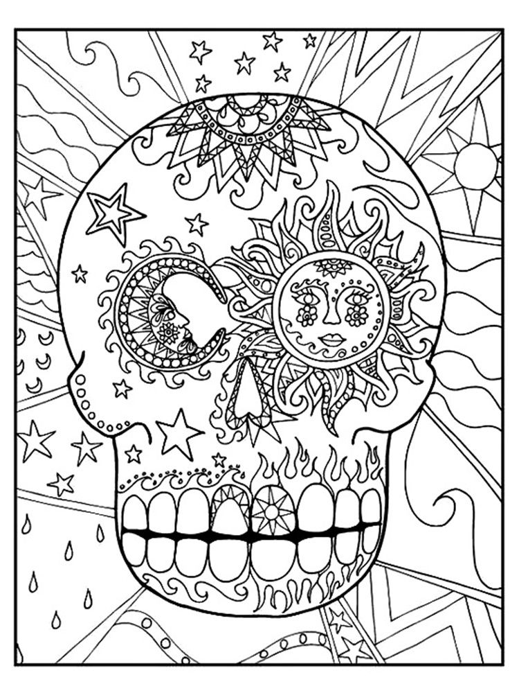 Sugar Skull adult coloring pages