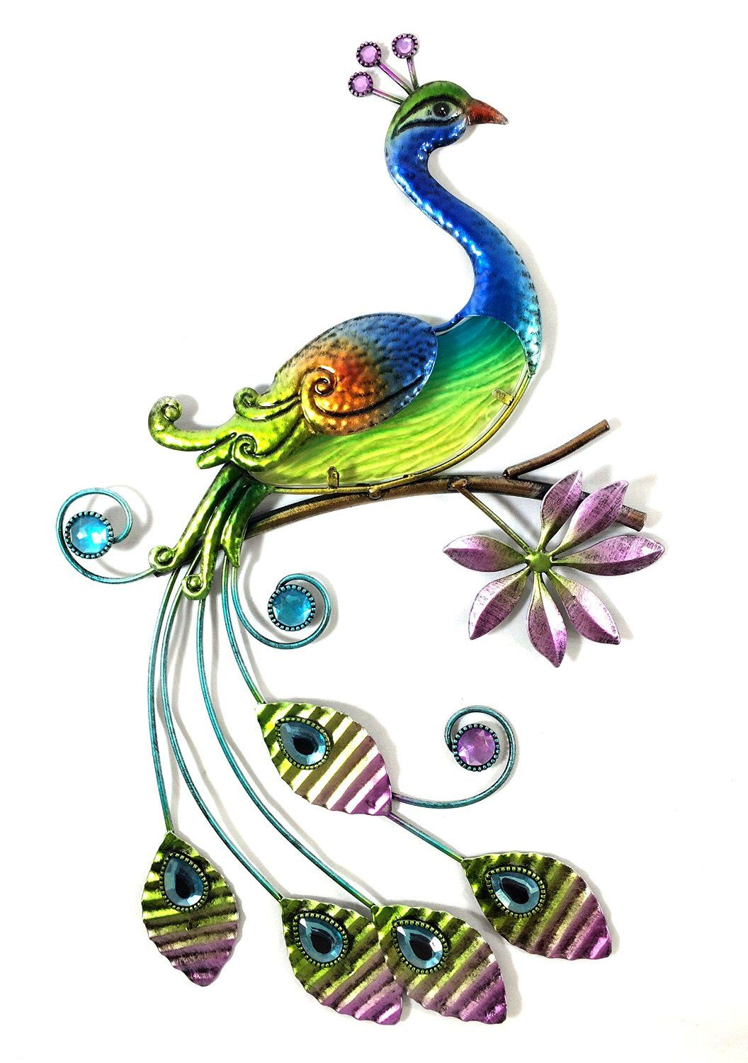 Peacock wall decor metal - Bejeweled Display Peacock W Glass Wall Art Plaque And Home Decor More