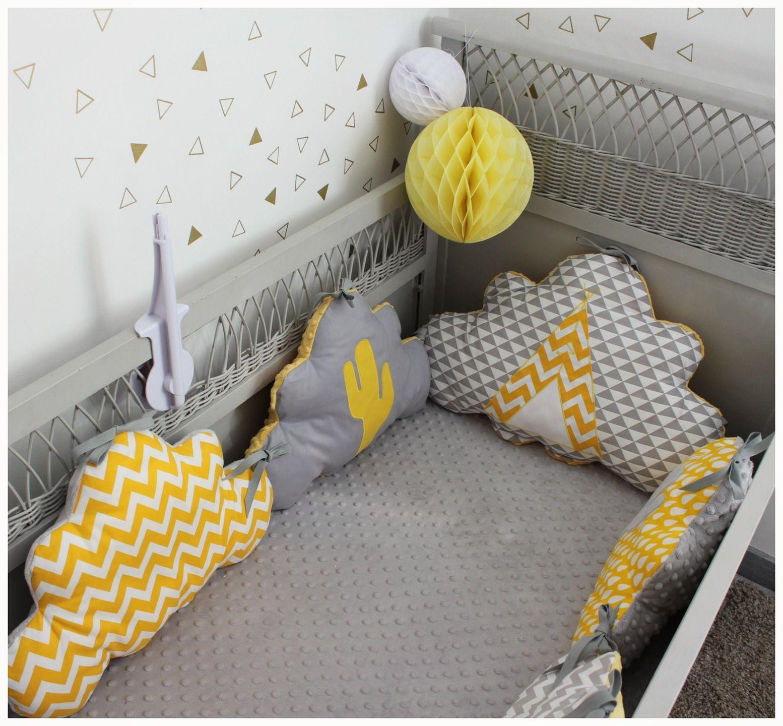Tour De Lit Nuage Theme Tipi Et Cactus Jaune Et Gris Decoration Chambre Bebe Garcon Tour De Lit Idee Deco Chambre