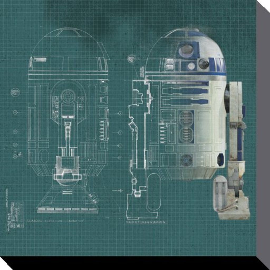 Star wars r2d2 blueprint brand new official canvas print size star wars blueprint canvas print 40 x 40 cm malvernweather Choice Image