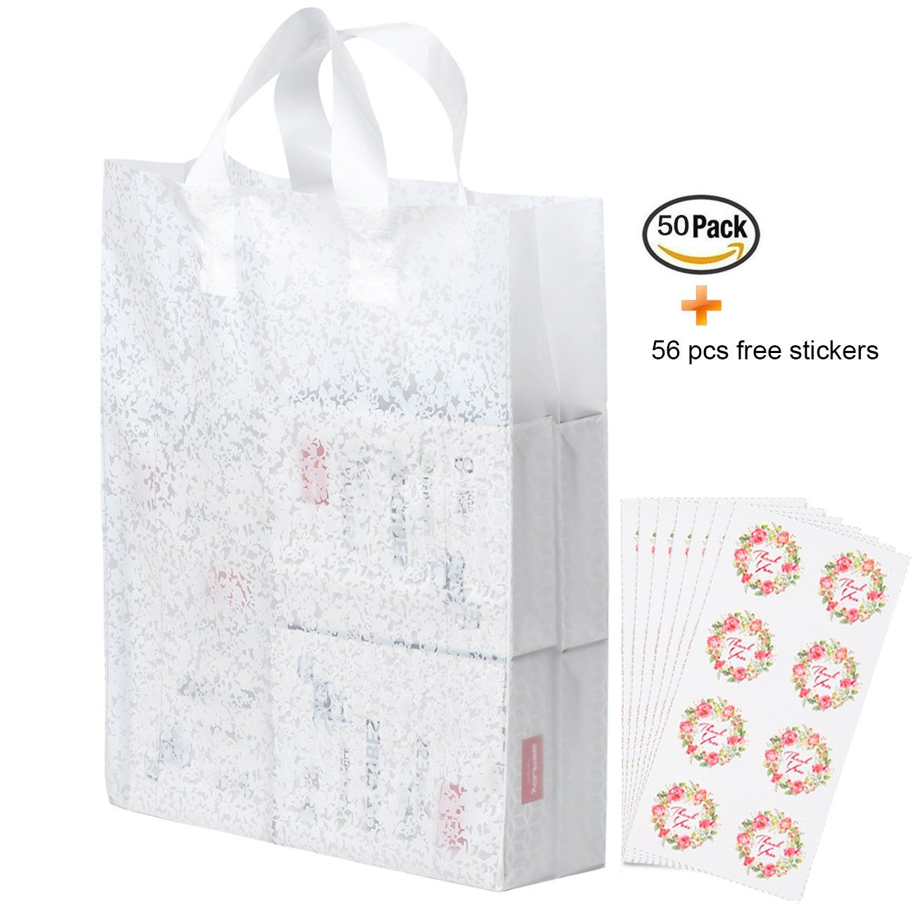 50pcs White Lace Merchandise Bags With Handles Bottom Gusset Yookeehome 4 8 Mil Extra Thick Plastic Ping Large Boutique Gift