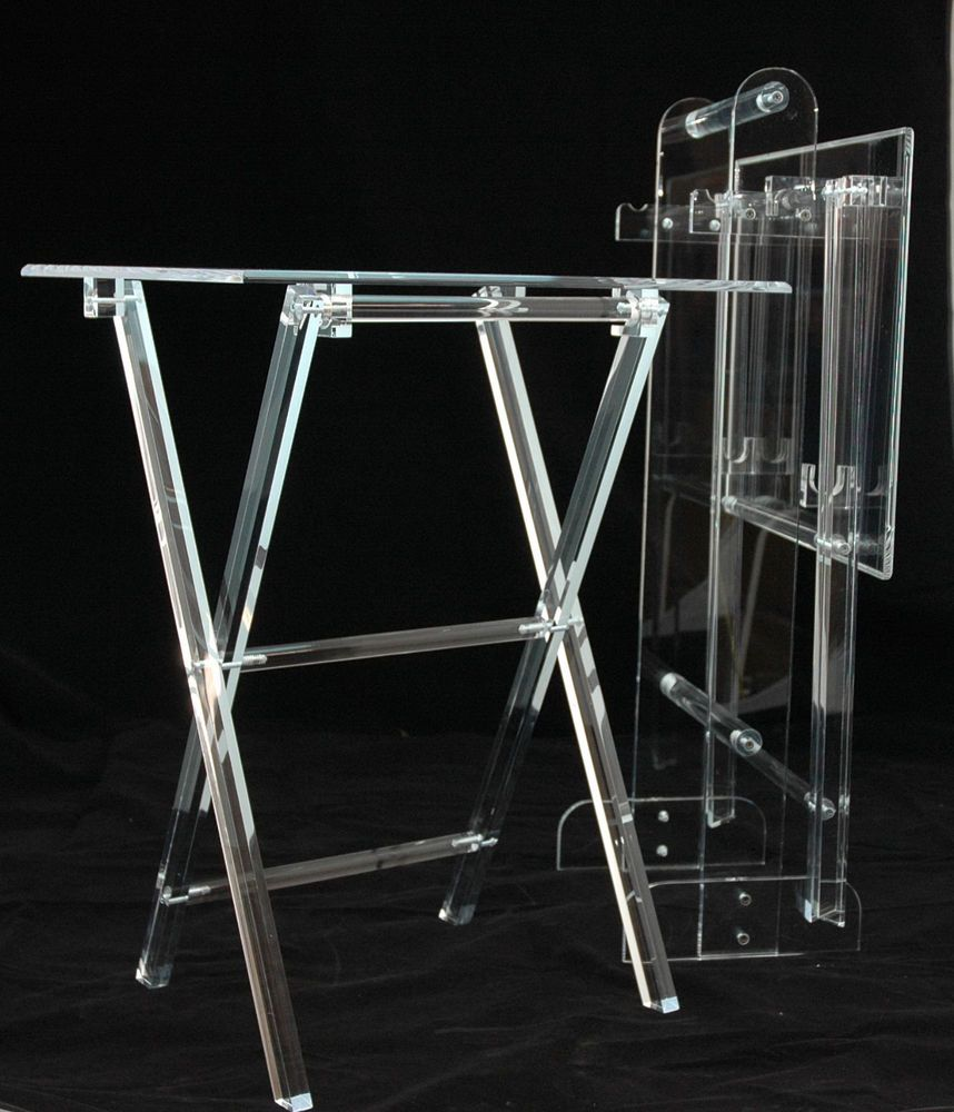 Clear Acrylic Lucite Plexiglass Folding   Snack   T.V. Trays With Stand