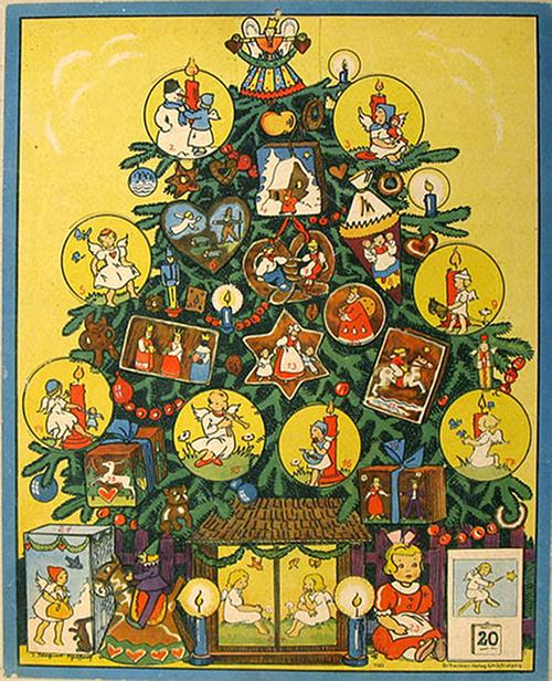 advent calendar the tree adorned illustrations. Black Bedroom Furniture Sets. Home Design Ideas