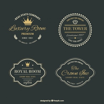 Photo of Download Luxury Real Estate Logos With Golden Details In Vintage Style for free