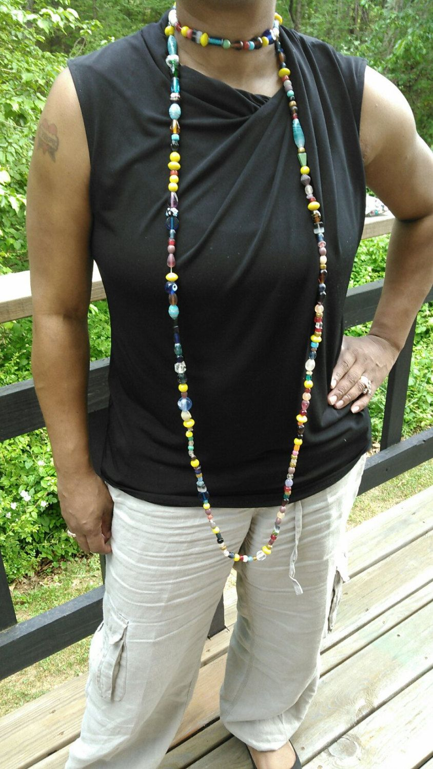 Long beaded necklace by TyeriDesigns on Etsy