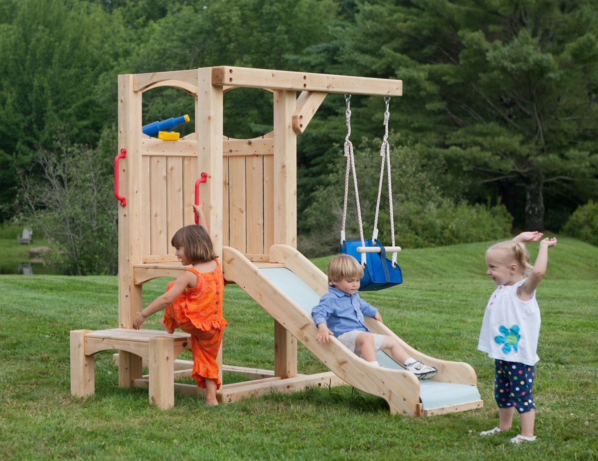 Frolic 4 Wooden Playset And Swing Set Cedarworks Slides