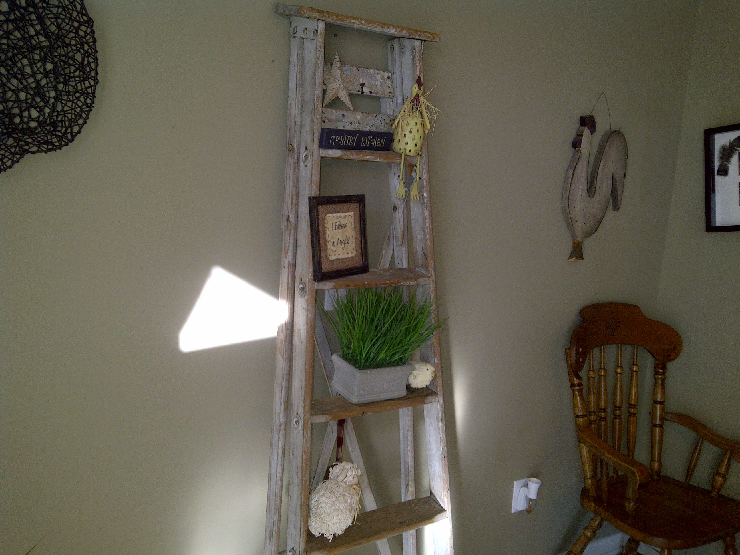Kitchen Decor Ladder Refurbished A Wood Ladder And Now It 39s Part Of My Kitchen