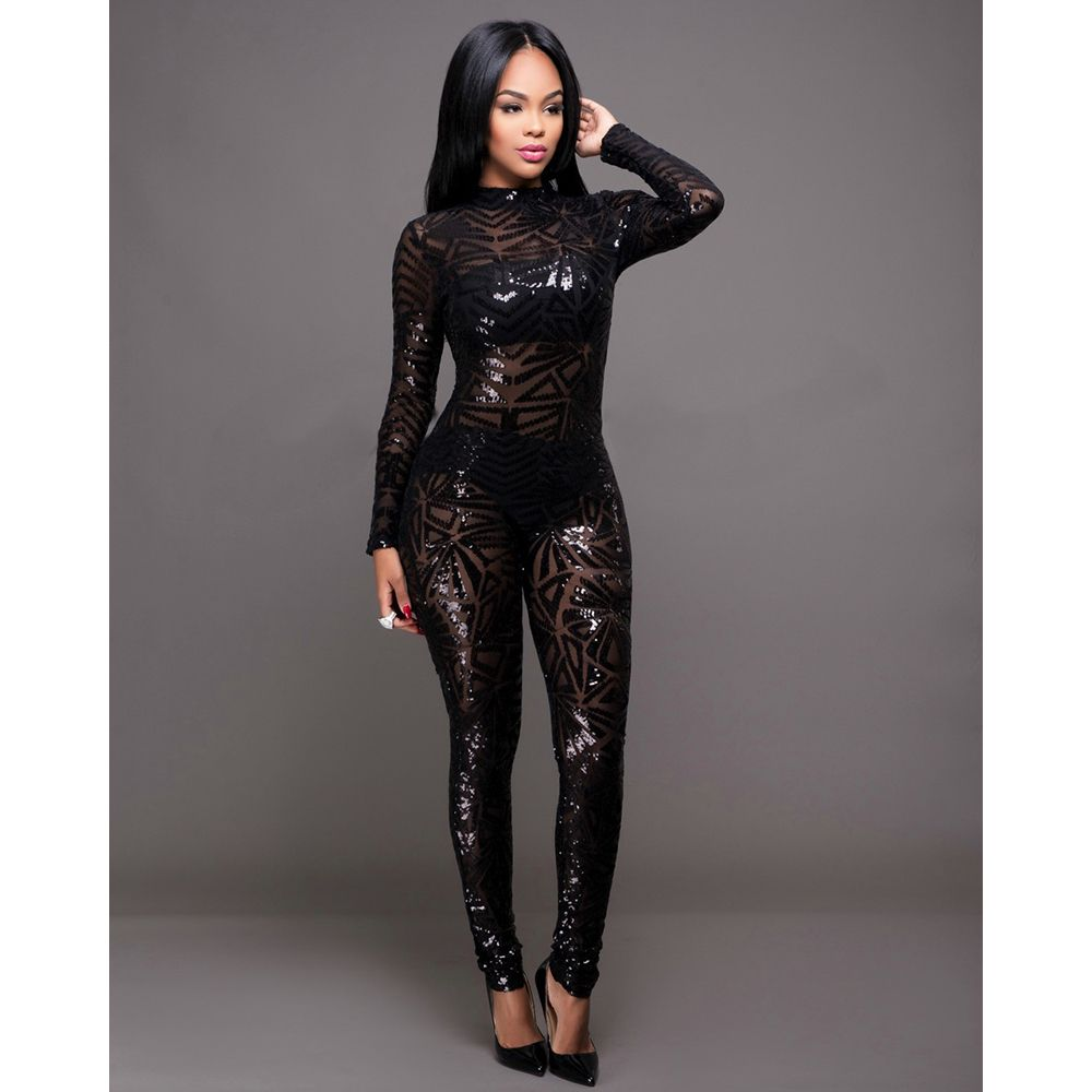 e53c6c22f5 Find More Jumpsuits Information about New Autumn Women Black Apricot  Sequined Jumpsuit Mesh See Through Bodysuit Fashion Long Sleeve Sexy  Nightclub ...